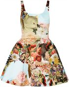 Mary Katrantzou Printed Satin Mini Dress - Lyst
