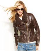 Michael Kors Michael Knit-Trim Leather Jacket - Lyst