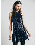 Free People Liquid Shine Mini Dress - Lyst
