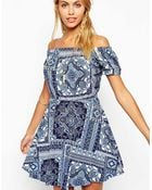 Asos Gypsy Skater Dress In Paisley Print - Lyst