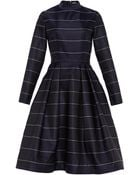 Katie Ermilio Pinstripe Mock Neck Tea Dress - Lyst