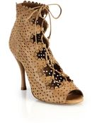 Tabitha Simmons Bonai Perforated Leather Lace-Up Booties - Lyst