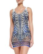 Jean Paul Gaultier Tattoo-Print Maillot With Tulle Overlay - Lyst