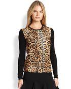 Ralph Lauren Black Label Leopard-Printed Calf Hair Sweater - Lyst