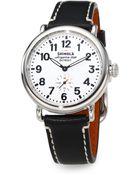 Shinola Runwell Stainless Steel & Leather Strap Watch/Black - Lyst