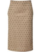 No 21 Genie Crystal-Embellished Lace Skirt In Camel - Lyst