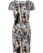 Halston Heritage Brushstroke Print Ruched Jersey Dress - Lyst