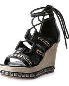 Alexander McQueen Studded Espadrille Wedge Sandal - Lyst