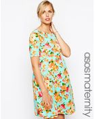 Asos Maternity Exclusive Textured Skater Dress In Spearmint Floral Print - Lyst