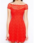 TFNC Bardot Lace Dress With Scallop Neckline - Lyst