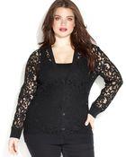 Michael Kors Michael Plus Size Buttonfront Lace Cardigan - Lyst