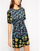 Oasis Rose Print Shift Dress - Lyst