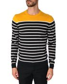 Vicomte A. Navy Cotton Cashmere Contrasting Yellow Sweater - Lyst