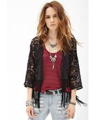 Forever 21 Fringed Lace Cardigan - Lyst