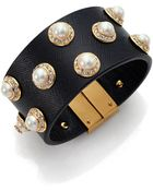 Tory Burch Natalie Saffiano Leather Bracelet - Lyst