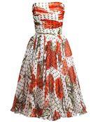 Dolce & Gabbana Carnation And Polka-Dot Print Strapless Dress - Lyst