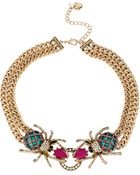 Betsey Johnson Multi Color Crystal Double Spider Frontal Necklace - Lyst