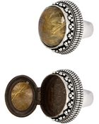 Saint Laurent Boîte Ring In Old Silver, Crystal And Gold Quartz - Lyst