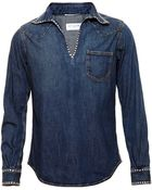 Saint Laurent Studded Denim Shirt - Lyst