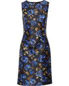 Oscar de la Renta Printed Silk And Wool-Blend Twill Dress - Lyst