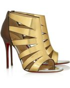 Christian Louboutin Beautyk 100 Cutout Metallic Patent-Leather Sandals - Lyst