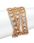 ABS By Allen Schwartz Faceted Three-Row Chain Bracelet - Lyst
