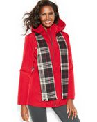 London Fog Hooded Zip-Front Anorak Coat With Scarf - Lyst