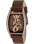 Le Vian Women'S Swiss Time Diva Diamond (1-7/8 Ct. T.W.) Brown Leather Strap 32X35Mm - Lyst