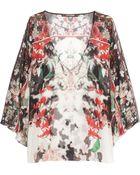 Roberto Cavalli Olimpia Floral-Print Silk-Georgette Top - Lyst