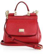 Dolce & Gabbana Micro Miss Sicily Textured-Leather Satchel - Lyst