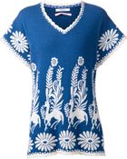 Barrie Intarsia Knit Short Sleeved Sweater - Lyst