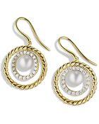 David Yurman Pearl Earrings With Diamonds In Gold - Lyst