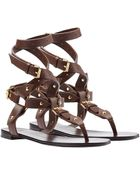 Giuseppe Zanotti Leather Nomad Wrap-Around Flat Sandal - Lyst