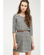 Forever 21 Stripe Print Belted Dress - Lyst