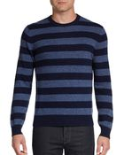 Saks Fifth Avenue Black Label Striped Cashmere Crewneck Sweater - Lyst