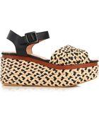 Robert Clergerie April Raffia And Leather Platform Sandals - Lyst