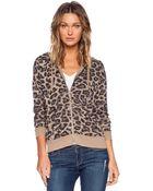 Splendid Distressed Leopard Zip Hoodie - Lyst