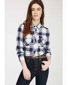 Forever 21 Tartan Plaid Flannel Shirt - Lyst