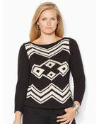 Ralph Lauren Cotton-Blend Boatneck Sweater - Lyst