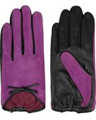 Agnelle Bow-Embellished Suede And Leather Gloves - Lyst