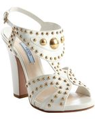 Prada Ivory Leather Brass Stud Open Toe Pumps - Lyst