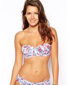 Asos Fuller Bust Exclusive Petal Print Longline Bikini Top Dd-F - Lyst