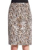 Calvin Klein Leopard-Print Pencil Skirt - Lyst