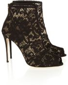 Dolce & Gabbana Lace Peep-Toe Ankle Boots - Lyst