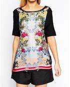Oasis Shadow Rose Woven Front T-Shirt - Lyst