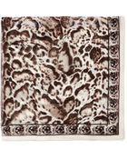 Alexander McQueen Leopard And Skull Print Silk Scarf - Lyst