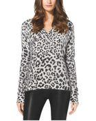Michael Kors Leopard-Print Angora-Blend Sweater - Lyst