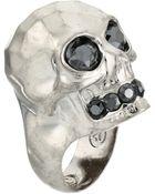 Alexander McQueen Textured Skull Ring - Lyst