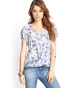 Love 21 Knotted Floral Vneck Tee - Lyst