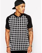 Asos Polo Shirt With Geo Grid Print - Lyst